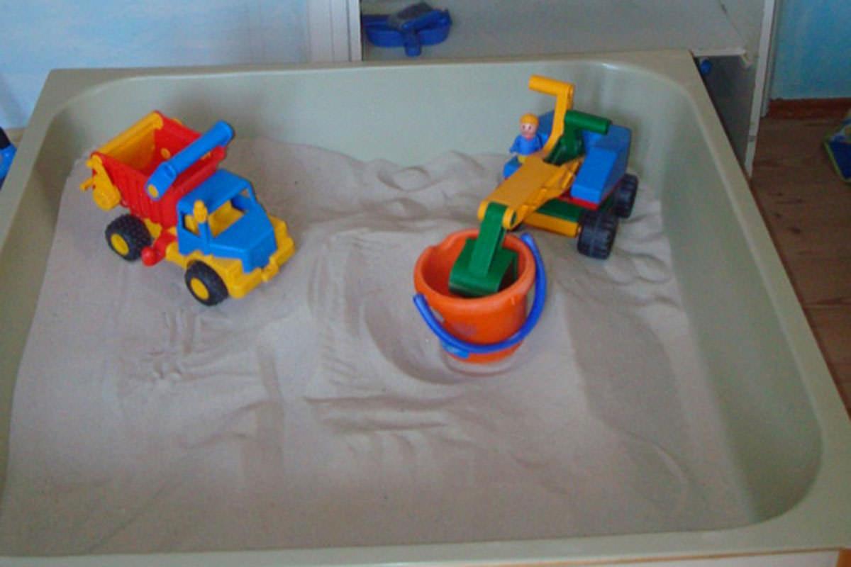 Der Sandraum ist der kleinste Funktionsraum und daher auch nur für 4 Kinder geöffnet.